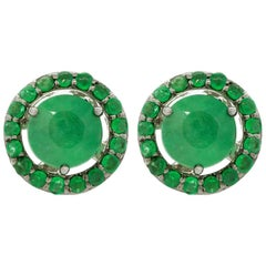 18K White Gold & 1 ct Lu Emerald Stud + 0.49 cts Lu Emerald Cluster by Alessa
