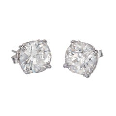 Peter Suchy GIA Certified 4.29 Carat Diamond Platinum Stud Earrings