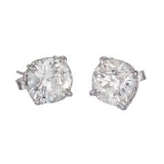 Peter Suchy GIA Certified 4.29 Carat Diamond Platinum Stud Earrings