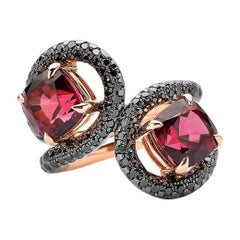 Garnet and Black Diamond Ring in 18 Karat Rose Gold and Black Rhodium Finish