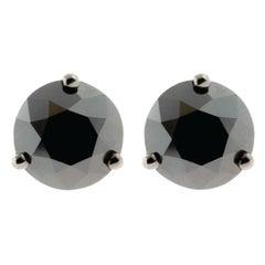 18 Karat Rose Gold and 1 Carat Lu Black Diamond Stud by Alessa Jewelry