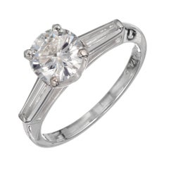 GIA Certified 1.07 Carat Diamond Platinum Three-Stone Engagement Ring
