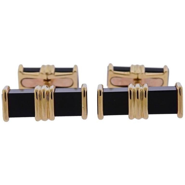 Chaumet Paris Onyx Gold Cufflinks For Sale
