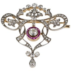 Stunning Diamond Natural Ruby Brooch Pendant Necklace