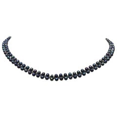 Marina J Unisex Round Black Pearl Necklace with Sterling Silver Beads and Clasp