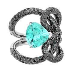 Paraiba-Type and Black Diamond Ring in 18 Karat White Gold Black Rhodium Finish