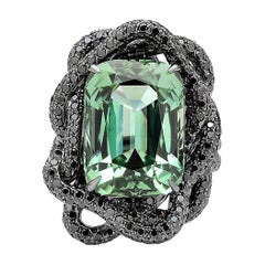 Green Tourmaline and Black Diamond Ring in 18 Karat White Gold Black Rhodium