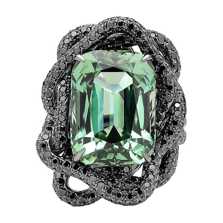 Green Tourmaline and Black Diamond Ring in 18 Karat White Gold Black Rhodium For Sale