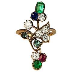 Art Nouveau Antique Gemstone Gold Ring