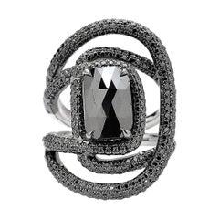 Black Diamond Ring in 18 Karat White Gold Black with Rhodium Finish