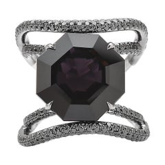 Black Spinel and Black Diamond Ring in 18 Karat White Gold Black Rhodium Finish