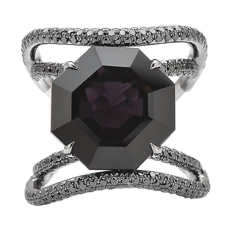 Black Spinel and Black Diamond Ring in 18 Karat White Gold Black Rhodium Finish For Sale