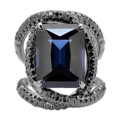 Spinel Cobalt and Black Diamond Ring in 18 Karat White Gold Black Rhodium Finish
