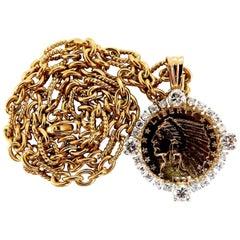 1925 Indian Head $2.5 1.65 Carat Diamonds Coin Necklace 18 Karat