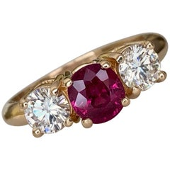 Estate Natural Ruby Diamond Trilogy Engagement Ring Gold