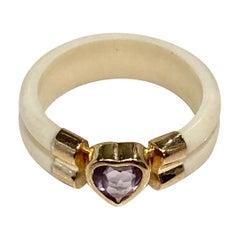 1970s Bone Ring with Amethyst Heart in 18 Karat Gold