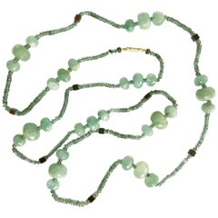 Dalben Aquamarine and Sapphire Rose Gold Long Necklace