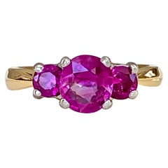 Natural Burma Ruby Three-Stone Ring 18 Karat Gold and Platinum