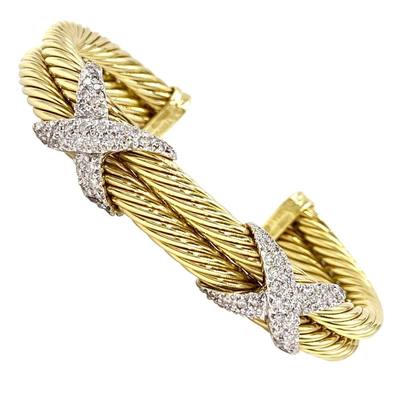 David Yurman 18 Karat Yellow Gold and Diamond Cable Cuff Bracelet For Sale