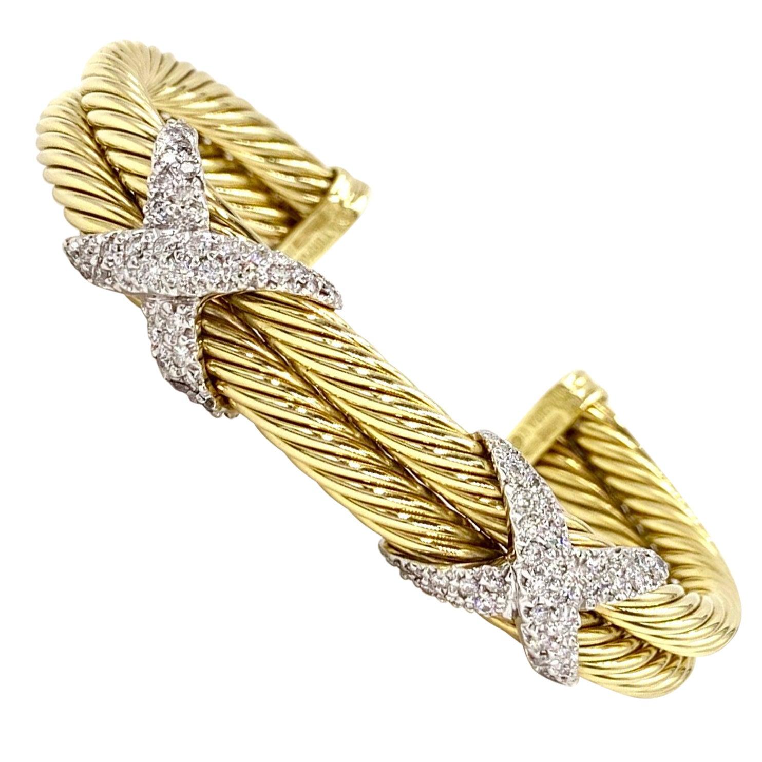 David Yurman 18 Karat Yellow Gold and Diamond Cable Cuff Bracelet
