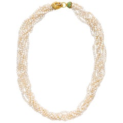 Lions Head Multi Strand Pearl Emerald Ruby Diamond Gold Necklace