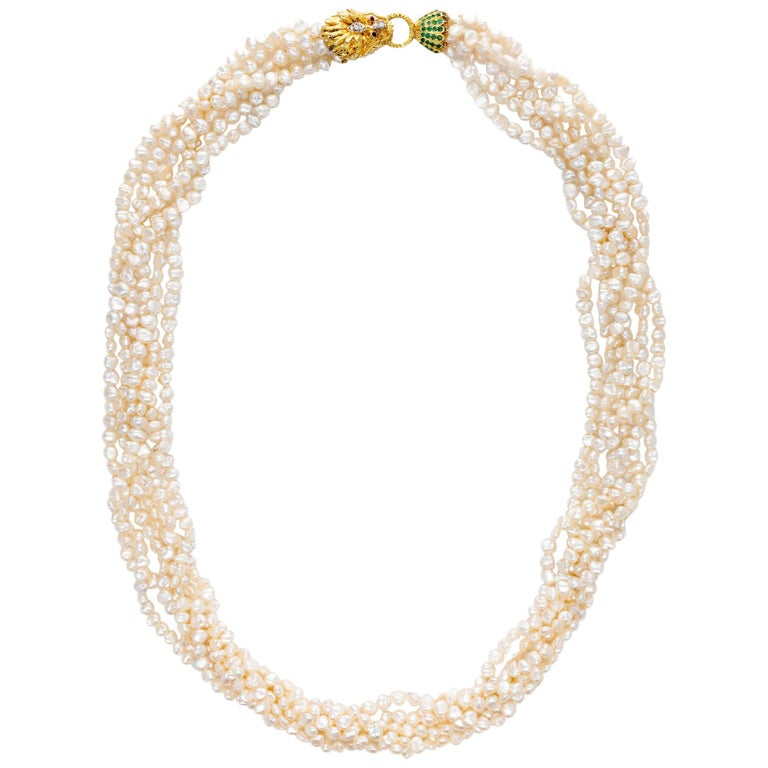 Lions Head Multi Strand Pearl Emerald Ruby Diamond Gold Necklace For Sale