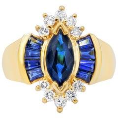 Yellow Gold 2.40 Carat Sapphire and Diamond Fashion Ring