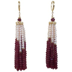 White Pearl and Ruby Graduated Tassel Earrings with 14 Karat Gold Lever Backs