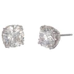 Peter Suchy GIA Certified 3.00 Carat Diamond Platinum Stud Earrings