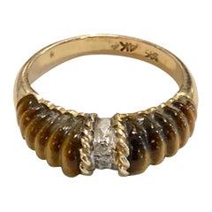 Carved Tigers Eye with Diamond Inset Ring, 14 Karat Gold, circa 1970s