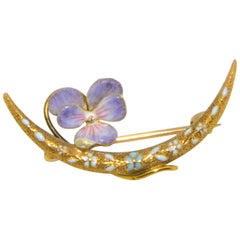 Art Nouveau 14 Karat Yellow Gold Enamel Flowers and Pearl Crescent Shaped Pin