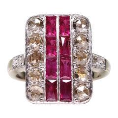 Rose Cut Diamond and Ruby Art Deco Platinum and 18 Karat Antique Vintage Ring