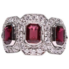Platinum Ruby and Diamond Antique Three-Stone Art Deco Ring