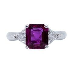 Estate Platinum Certified Thai Ruby and Trillion Diamond Ring