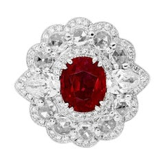 White Gold 3.06 Carat Unheated Mozambique Ruby and White Diamond Dress Ring