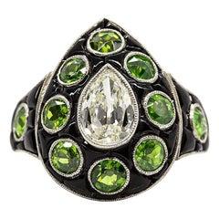 Platinum Antique Pear Diamond, Onyx and Demantoid Garnet Art Deco Ring