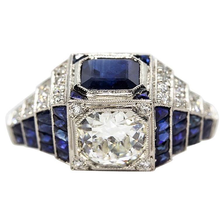 0bf8d53486e61 Platinum Estate Sapphire and Diamond Art Deco Engagement Ring