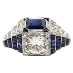 Platinum Estate Sapphire and Diamond Art Deco Engagement Ring