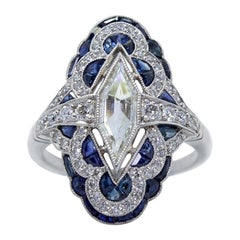 Estate Vintage Antique Sapphire and Diamond Shield Ring