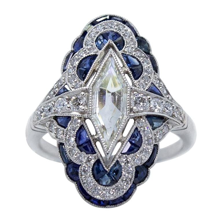 Estate Vintage Antique Sapphire and Diamond Shield Ring For Sale
