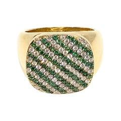 Heraldic Diamond and Tsavorite Signet Ring by Martyn Lawrence Bullard