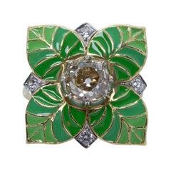 Platinum and 18 Karat Gold Estate Art Deco Old Mine Cut Brown Diamond Leaf Ring
