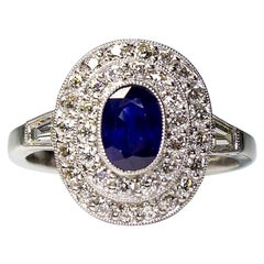 Antique Platinum Oval Sapphire and Diamond Double Halo Art Deco Ring