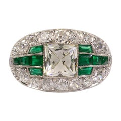 Platinum Art Deco Antique Emerald and French Cut Diamond Ring