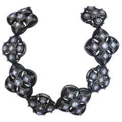 Constantine Diamond, Platinum, and Black Sterling Silver Link Bracelet