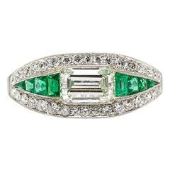 Estate Platinum Art Deco Old Mine Cut Diamond and Emerald Cut Ring with Emeralds