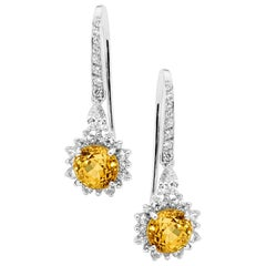 Yellow Sapphire and White Diamond 18 Carat White Gold Drop Earrings
