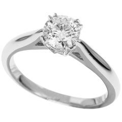 Harry Winston Solitaire Round Brilliant 0.53 Carat Diamond Platinum Ring US 4