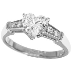 Harry Winston Heart Shape 0.80 Carat Diamond Platinum Tryst Ring
