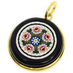 Tagliamonte Florence Mosaic Diamond Onyx 18 Karat Yellow Gold Pendant Top